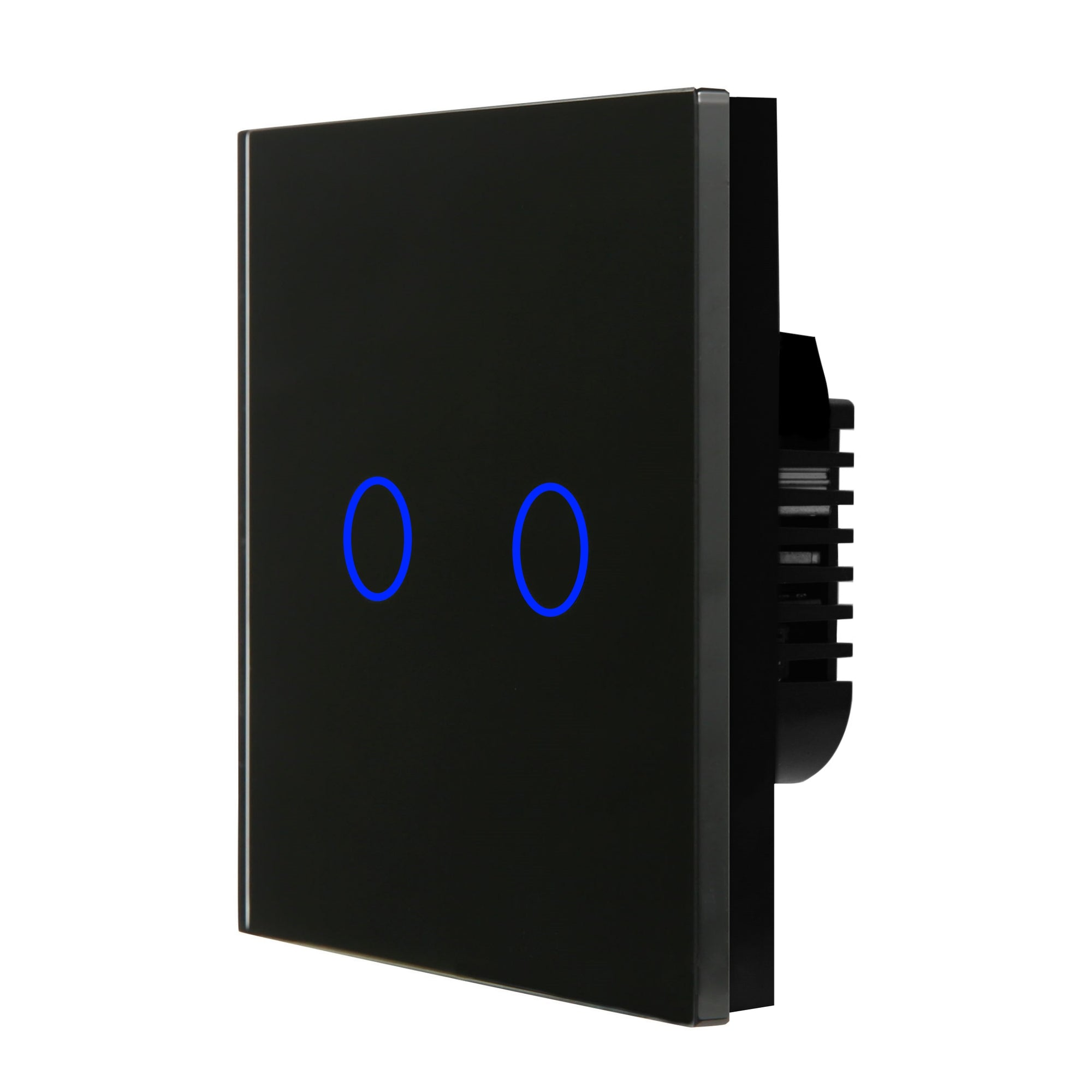 Black Glass Touch Panel Light Switch 2 Gang 1 Way
