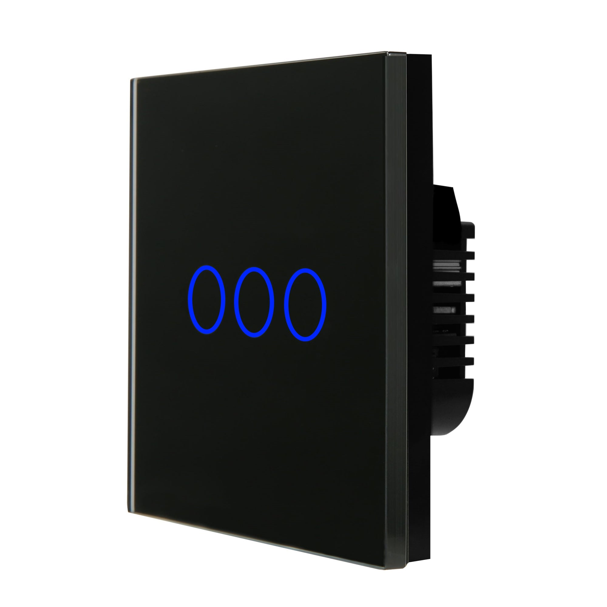 Black Glass Touch Panel Light Switch 3 Gang 1 Way