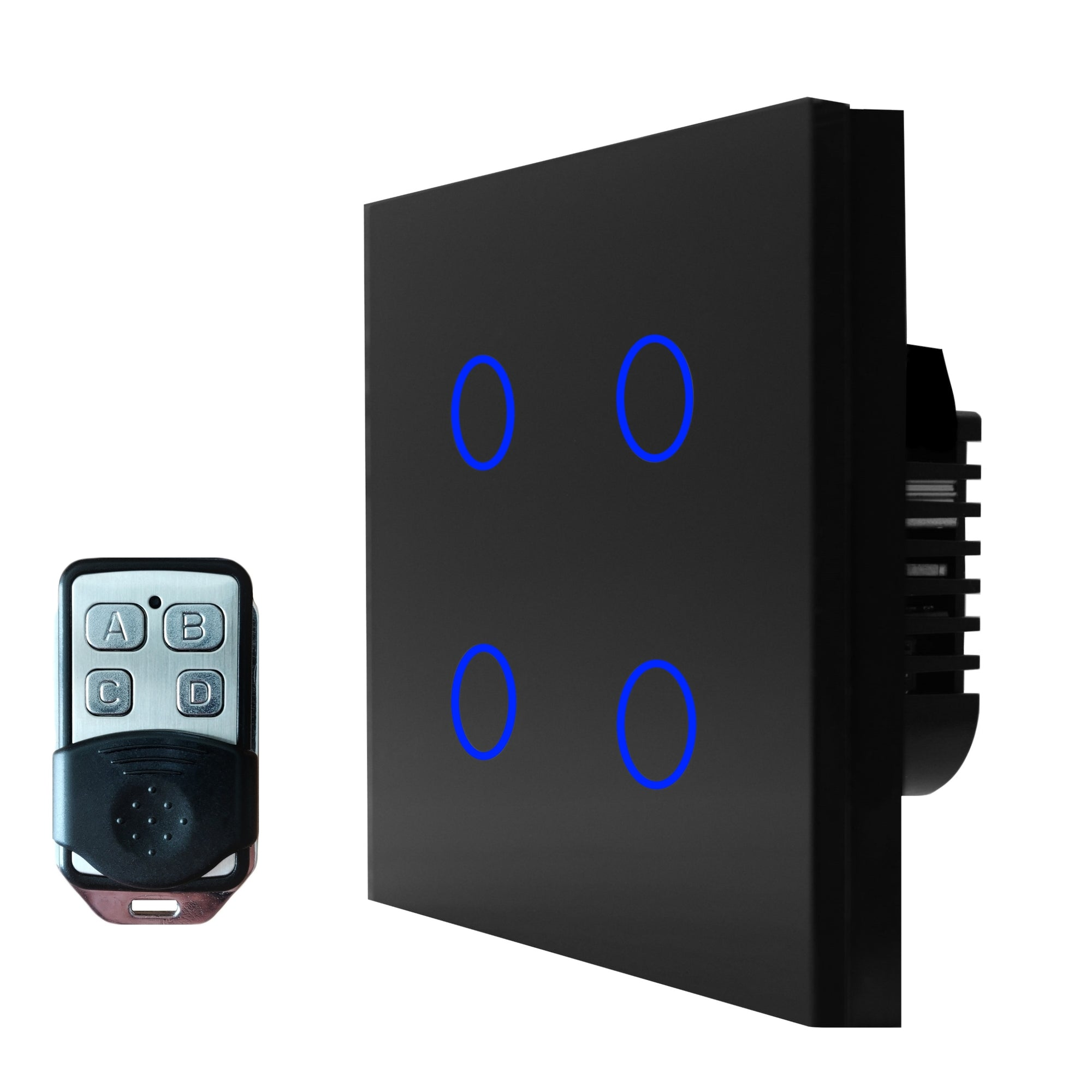 Black Glass Touch Panel Light Switch 4 Gang 1 Way with Remote