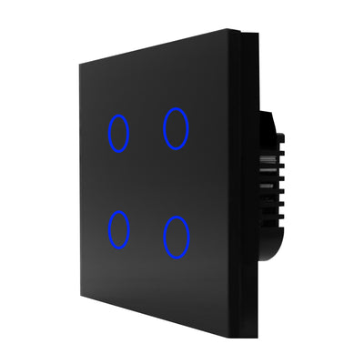 Black Glass Touch Panel Light Switch 4 Gang 1 Way