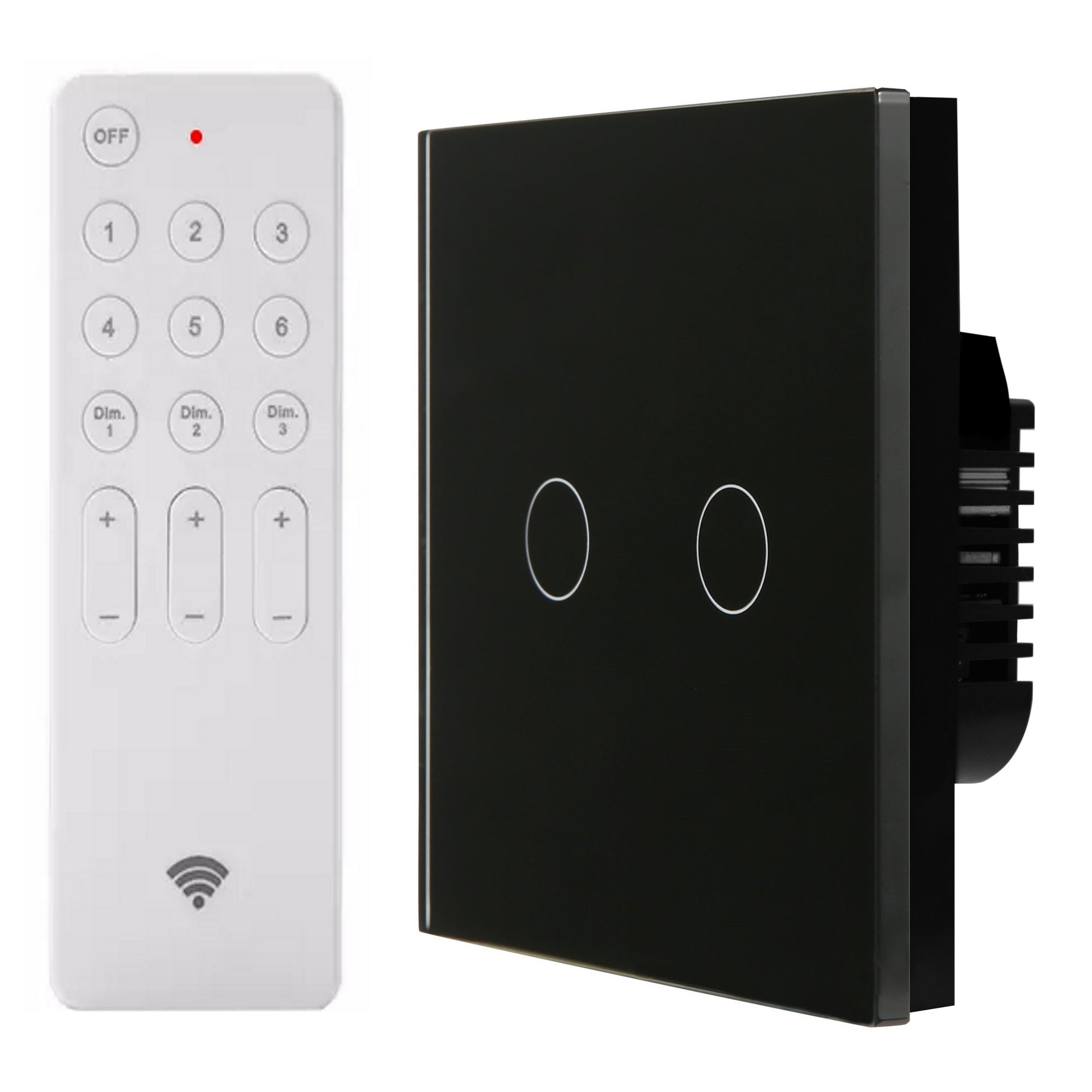 Black Glass Touch Panel Dimmer Light Switch 2 Gang 1 Way with Remote