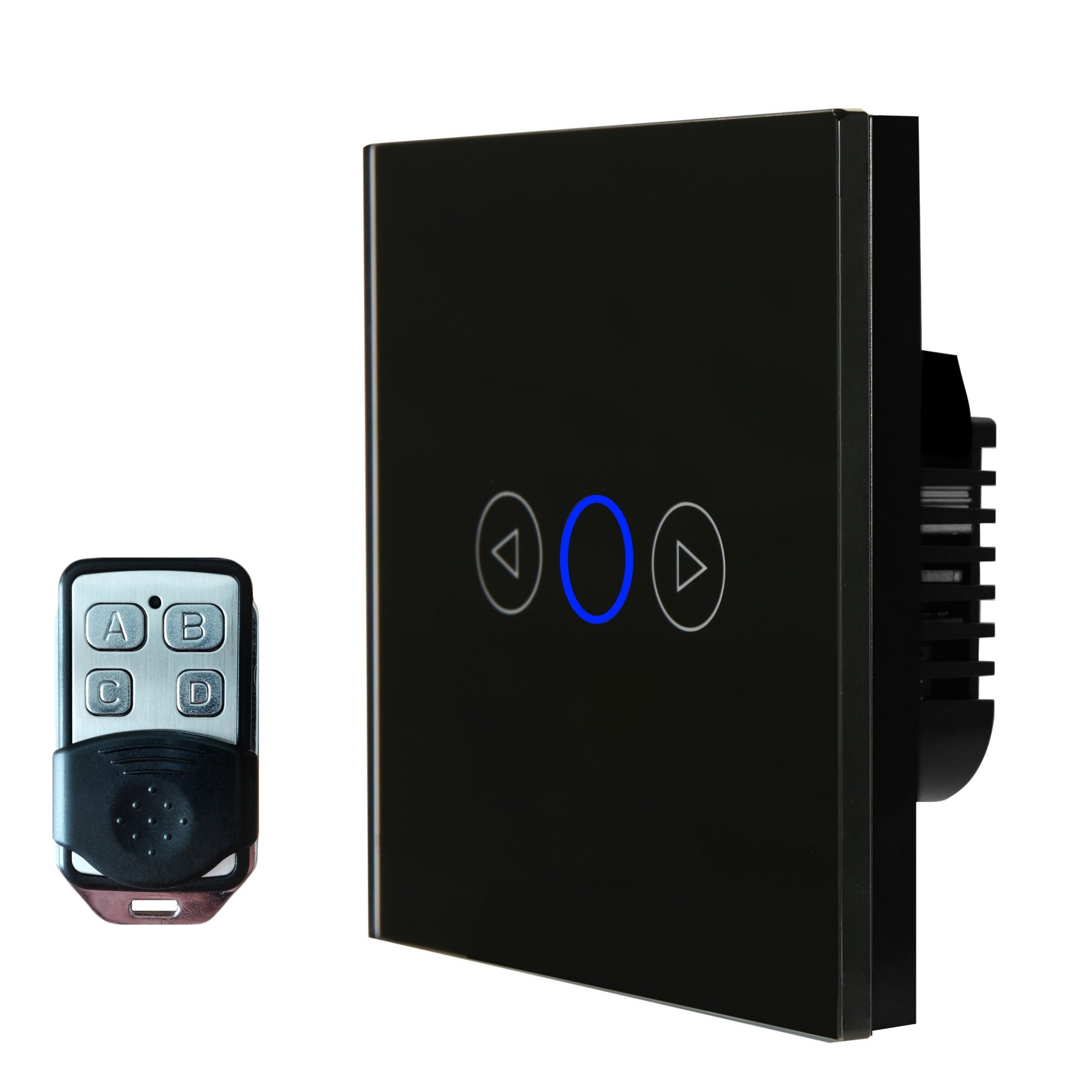 Black Glass Touch Panel Dimmer Light Switch 1 Gang 1 Way with Remote