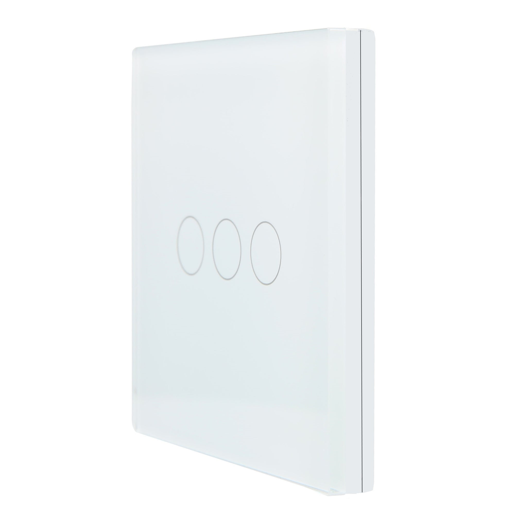 White Glass Wall Remote Control Panel 3 Gang for RF-2Way (DC)