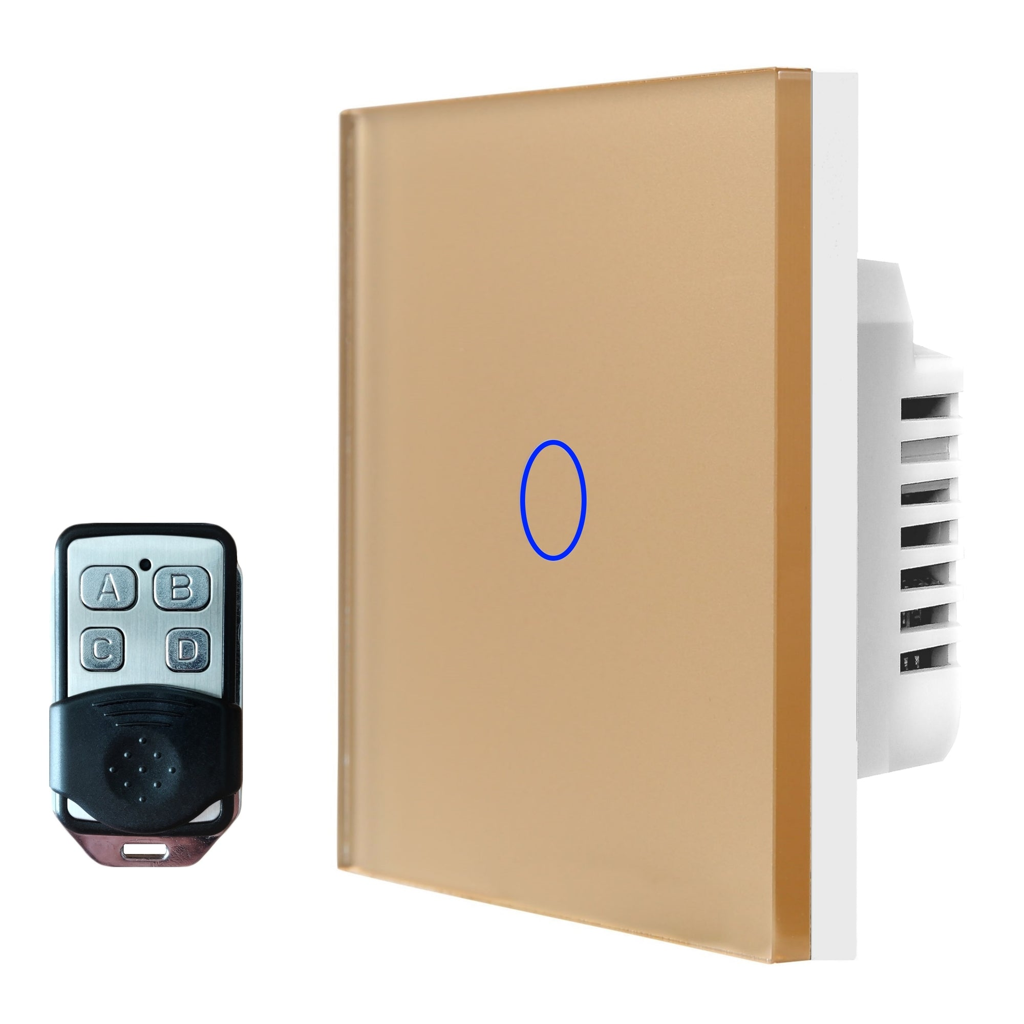 Gold Glass Touch Panel Light Switch 1 Gang 1 Way with Remote