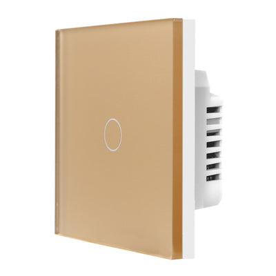 Gold Glass Touch Panel Dimmer Light Switch 1 Gang 1/2 Way