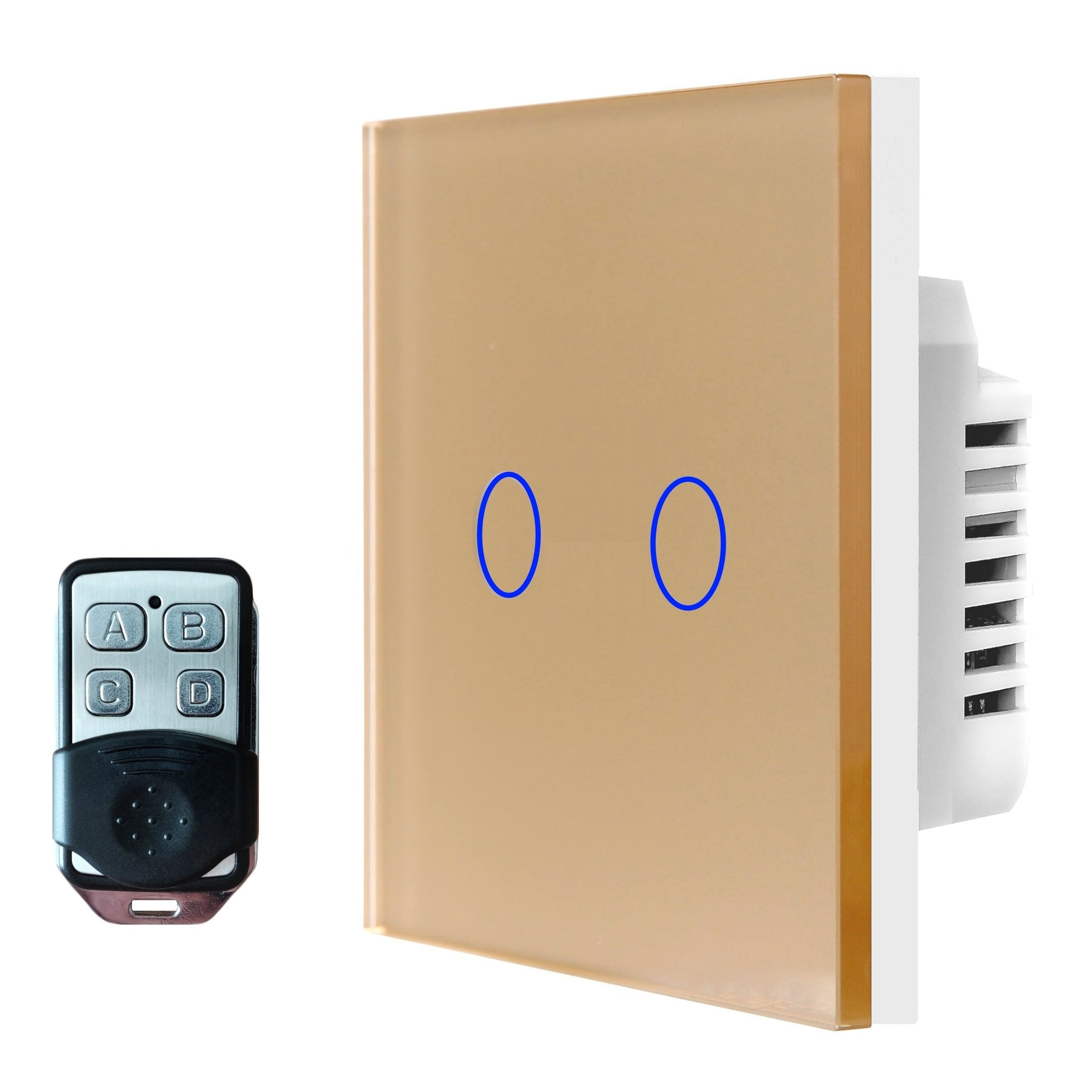 Gold Glass Touch Panel Light Switch 2 Gang 1 Way with Remote