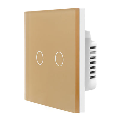 Gold Glass Touch Panel Dimmer Light Switch 2 Gang 1 Way
