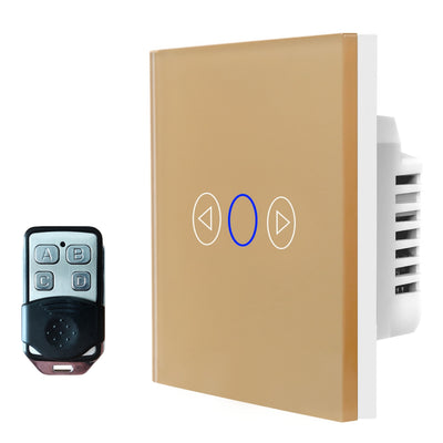 Gold Glass Touch Panel Dimmer Light Switch 1 Gang 1 Way with Remote