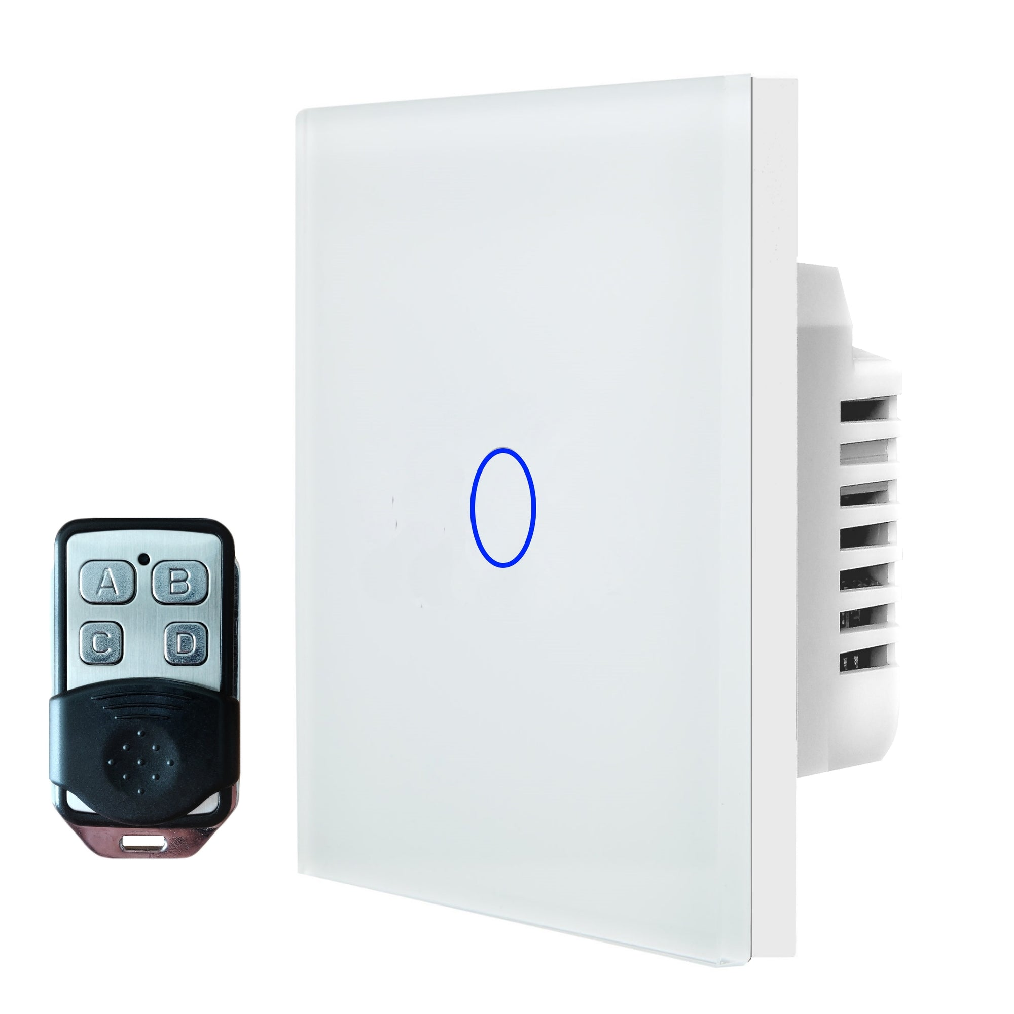 White Glass Touch Panel Light Switch 1 Gang 1 Way with Remote