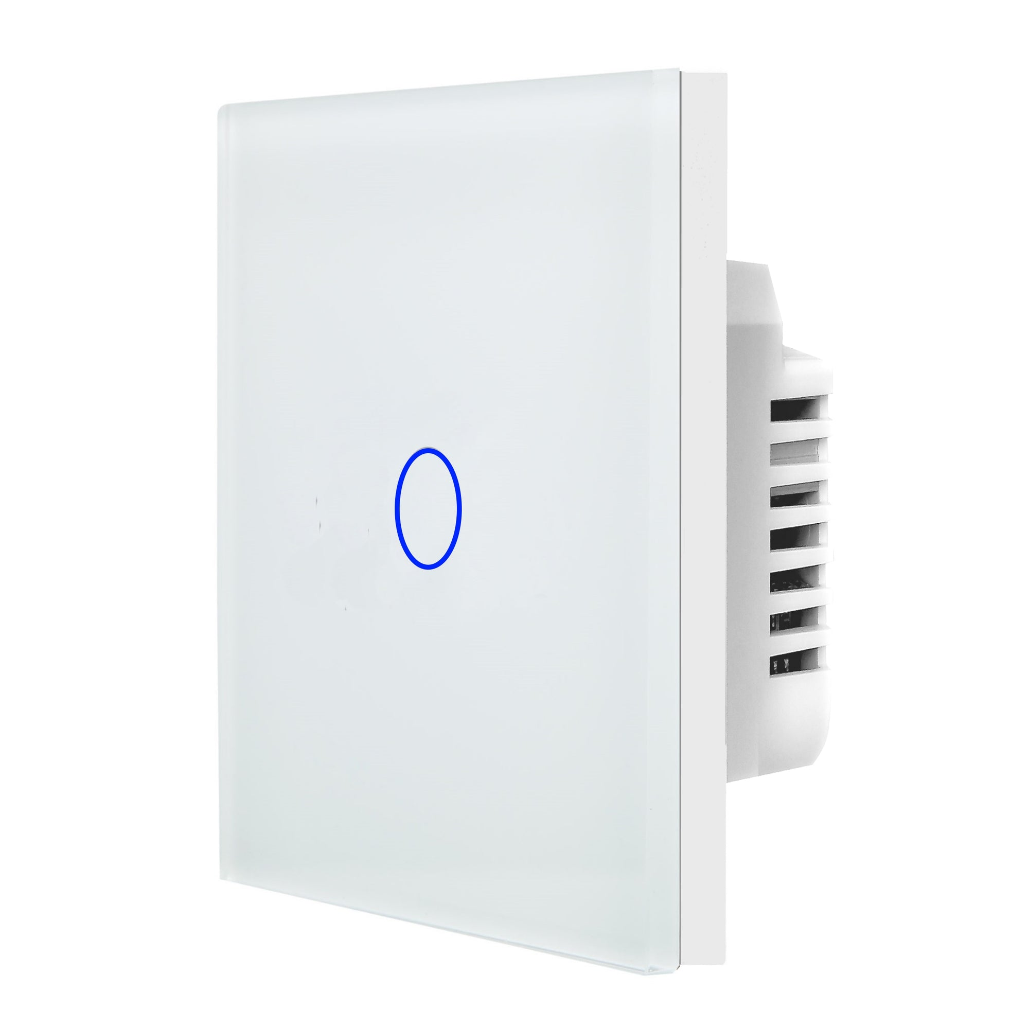 White Glass Touch Panel Light Switch 1 Gang 1 Way
