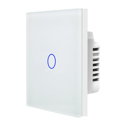 Smart Wireless WiFi & RF 1 Gang 1 Way Touch Light Switch Pack - White Glass