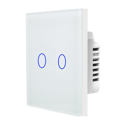 White Glass Touch Panel Light Switch 2 Gang 1 Way