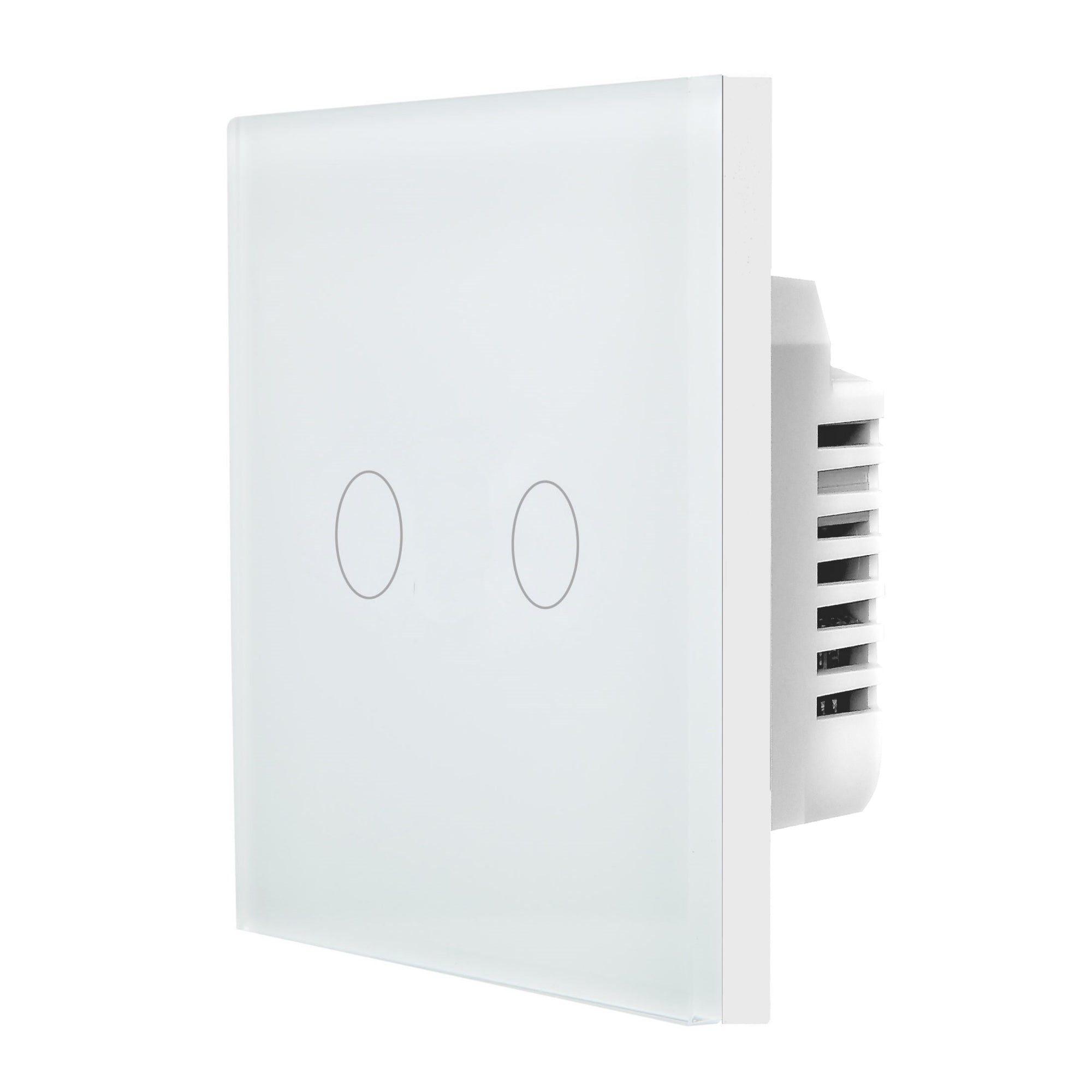White Glass Touch Panel Dimmer Light Switch 2 Gang 1 Way