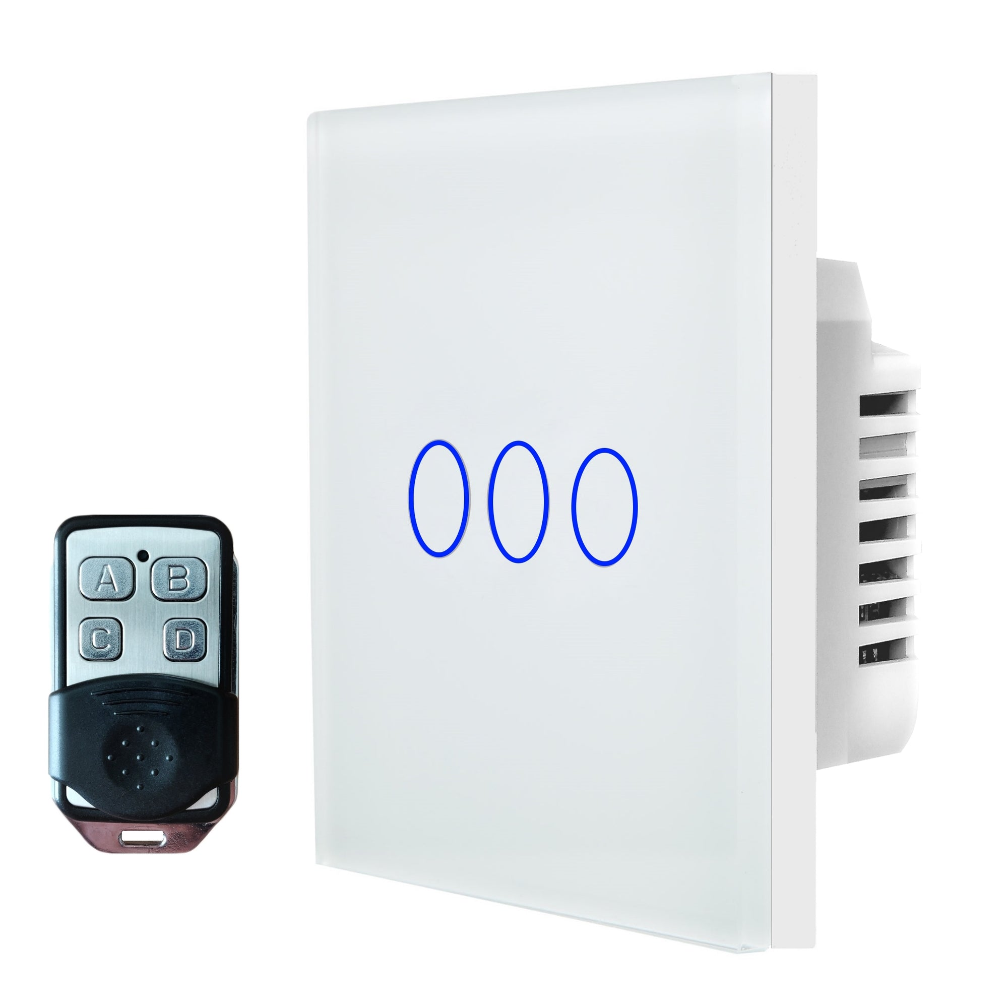 White Glass Touch Panel Light Switch 3 Gang 1 Way with Remote