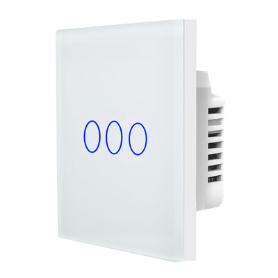White Glass Touch Panel Light Switch 3 Gang 1 Way