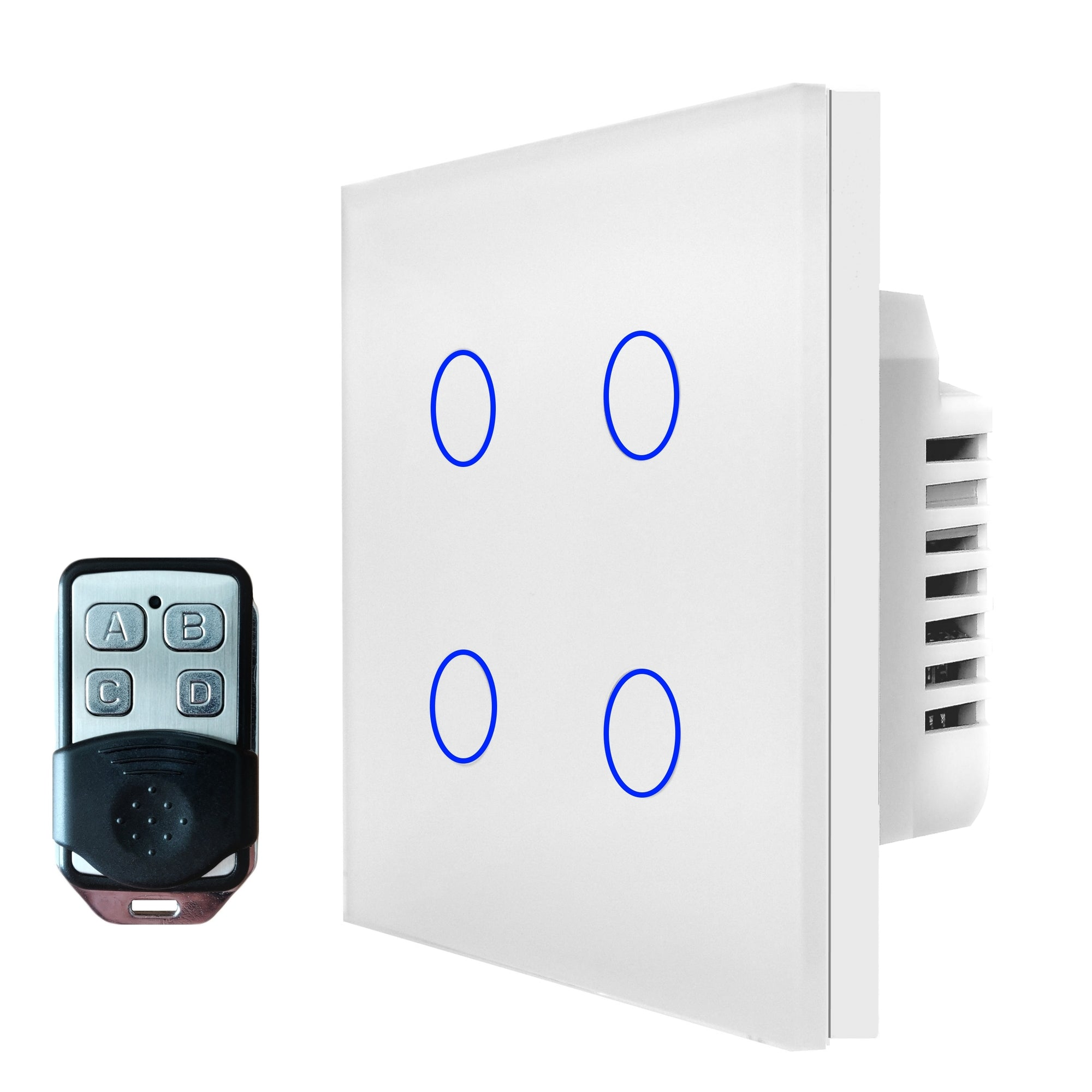 White Glass Touch Panel Light Switch 4 Gang 1 Way with Remote