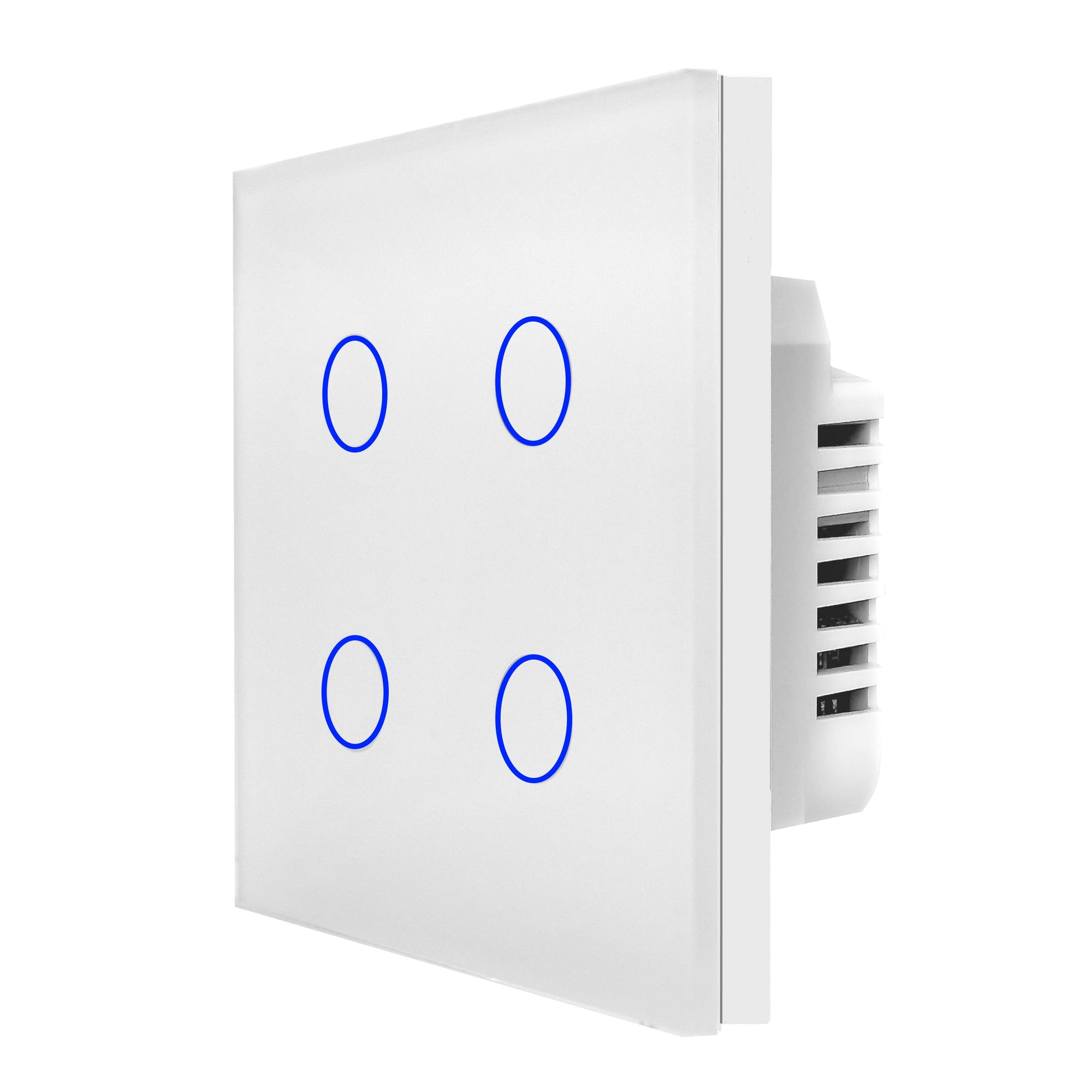 White Glass Touch Panel Light Switch 4 Gang 1 Way