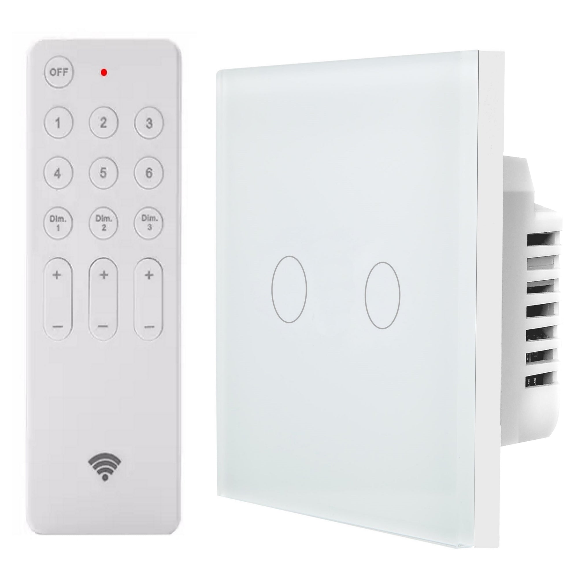 White Glass Touch Panel Dimmer Light Switch 2 Gang 1 Way with Remote