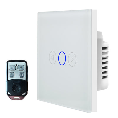 White Glass Touch Panel Dimmer Light Switch 1 Gang 1 Way with Remote