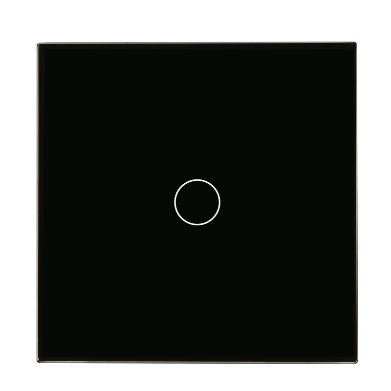 Black Glass Touch Panel Dimmer Light Switch 1 Gang 1/2 Way