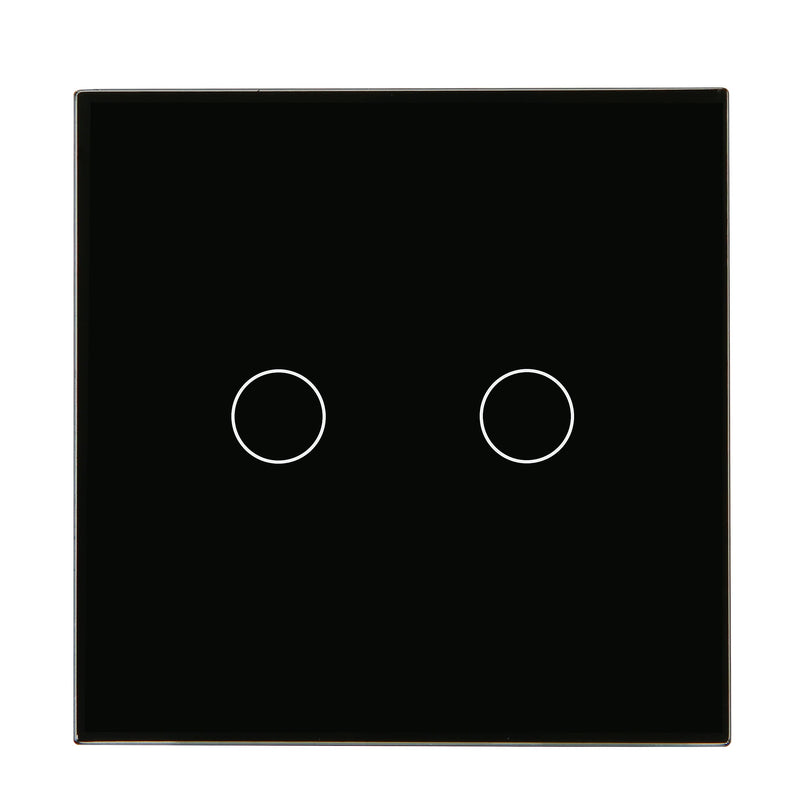 Black Glass Touch Panel Dimmer Light Switch 2 Gang 1 Way
