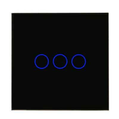Black Glass Touch Panel Light Switch 3 Gang 1 Way with Remote