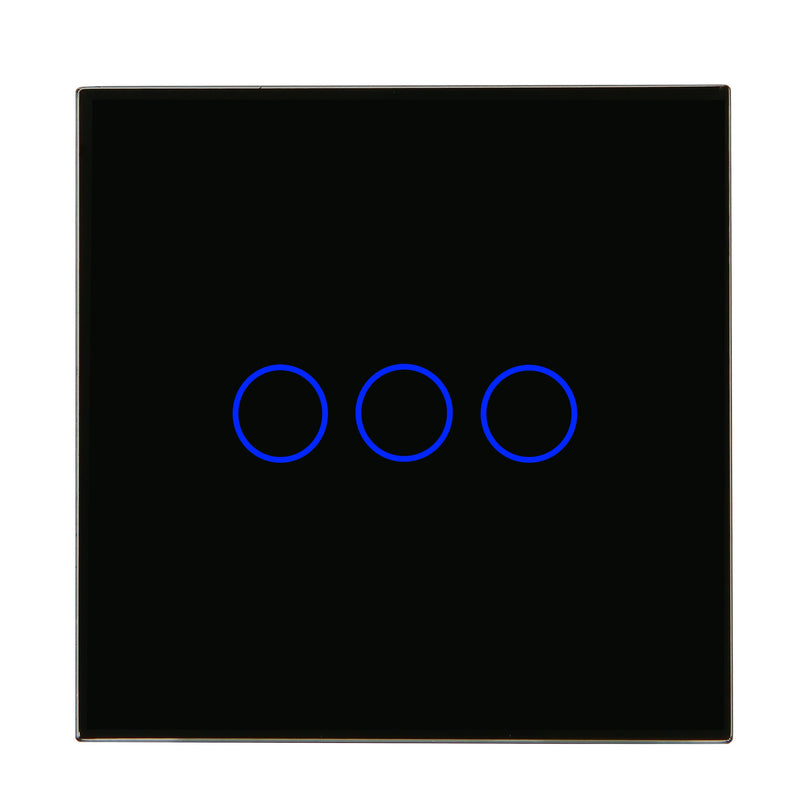 Black Glass Wall Remote Control Panel 3 Gang for RF-2Way (AC)