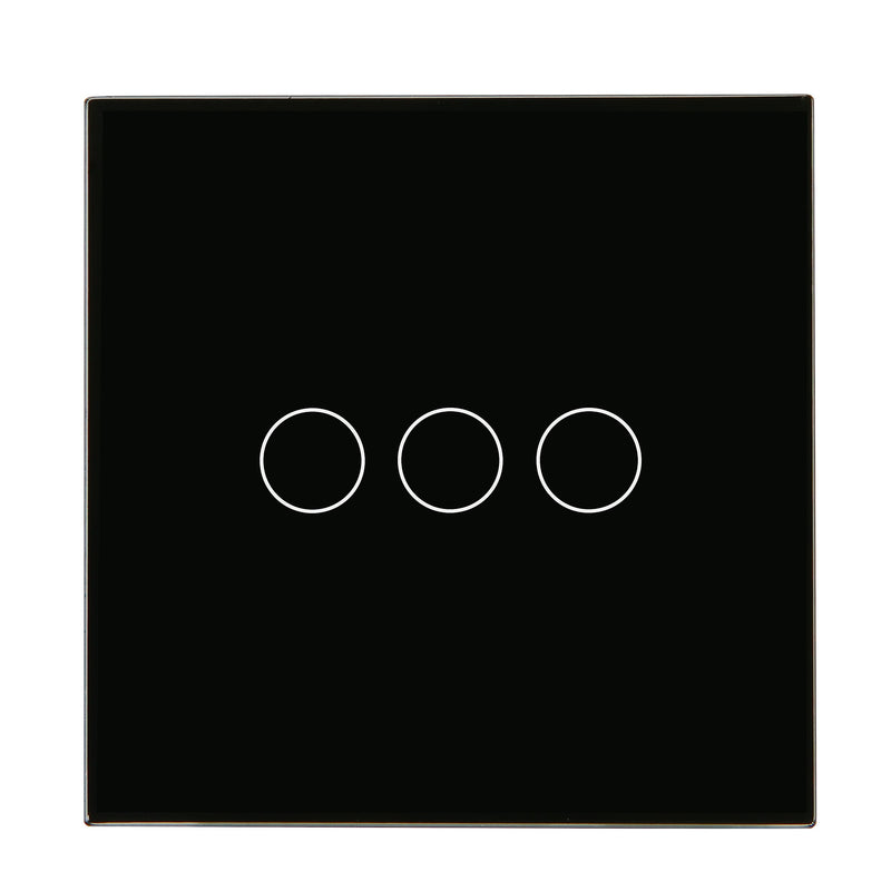 Black Glass Wall Remote Control Panel 3 Gang for RF-2Way (DC)