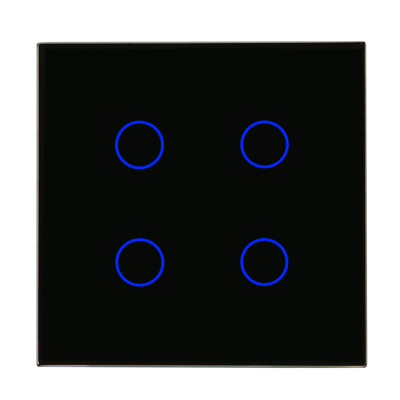 Black Glass Wall Remote Control Panel 4 Gang for RF-2Way (AC)