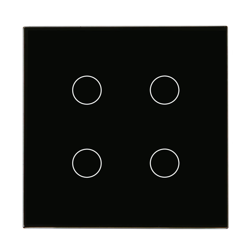 Black Glass Wall Remote Control Panel 4 Gang for RF-2Way (DC)