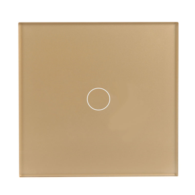 Gold Glass Wall Remote Control Panel 1 Gang for RF-2Way (DC)