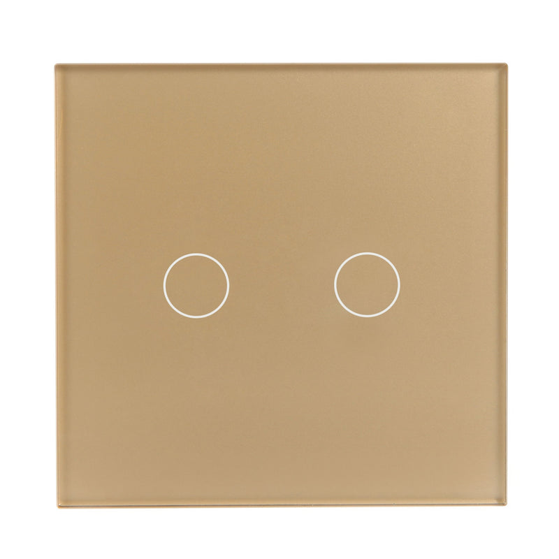 Gold Glass Touch Panel Dimmer Light Switch 2 Gang 1 Way with Remote