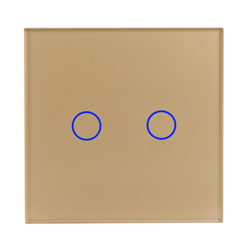 Gold Glass Wall Remote Control Panel 2 Gang for RF-2Way (AC)