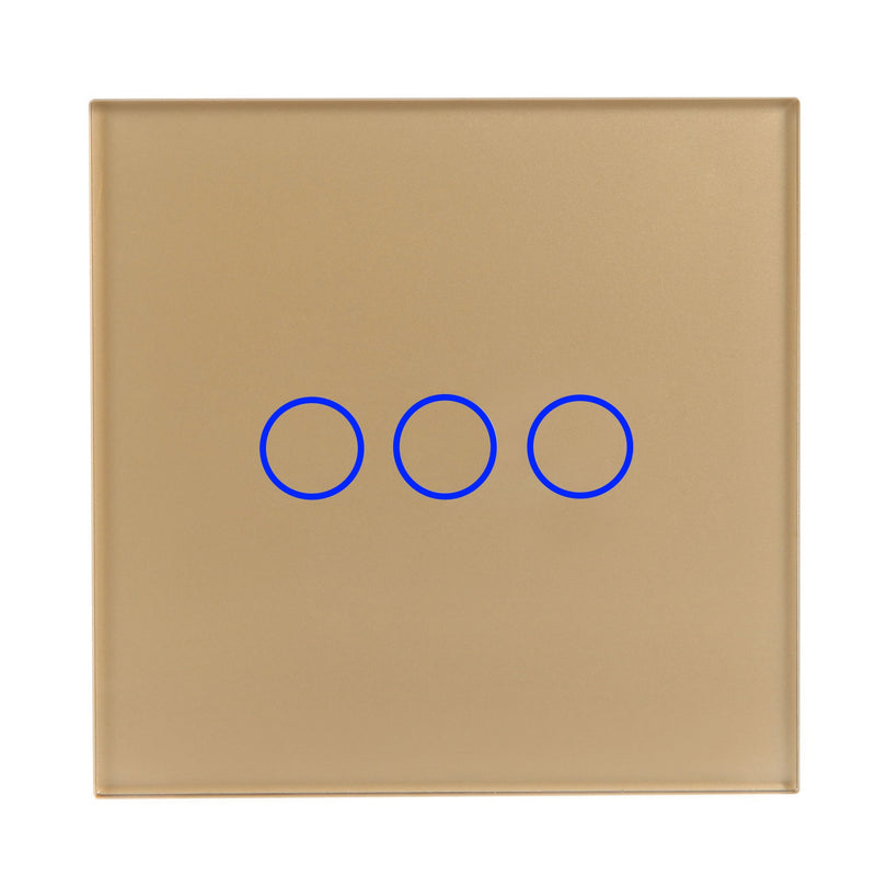 Gold Glass Touch Panel Light Switch 3 Gang 1 Way with Remote