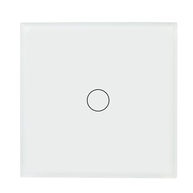 White Glass Touch Panel Dimmer Light Switch 1 Gang 1/2 Way with Remote