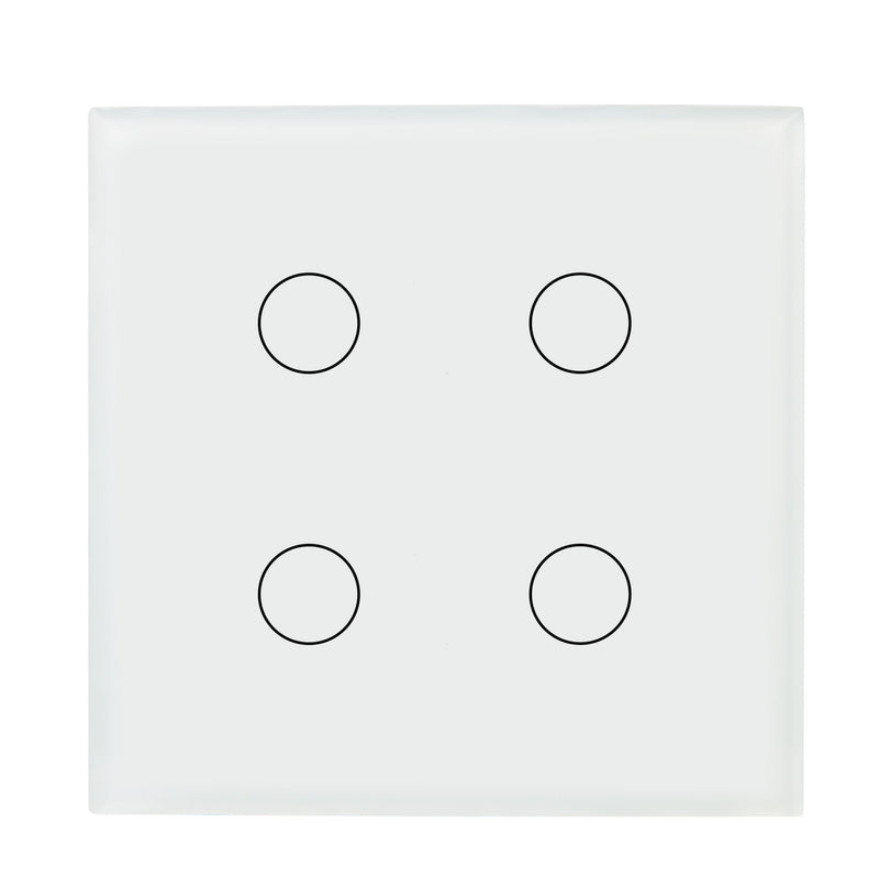 White Glass Wall Remote Control Panel 4 Gang for RF-2Way (DC)