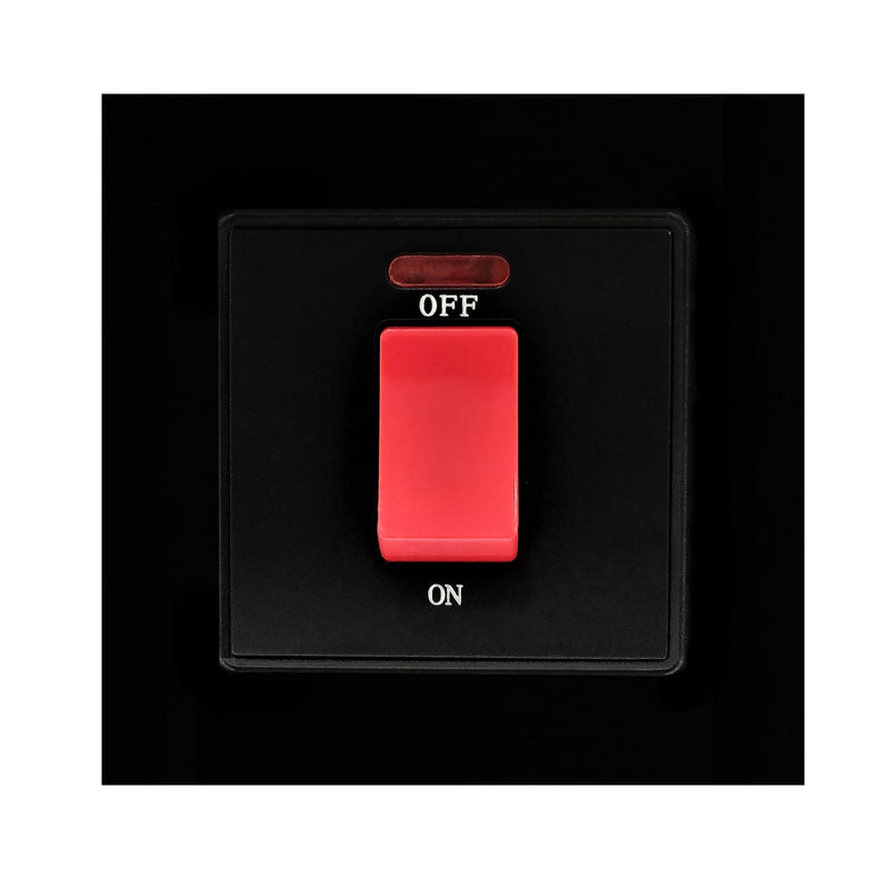 Single 45A Cooker AC Wall Power Switch in Black Glass Frame & Black Centre