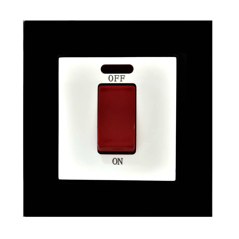 Single 45A Cooker AC Wall Power Switch in Black Glass Frame & White Centre