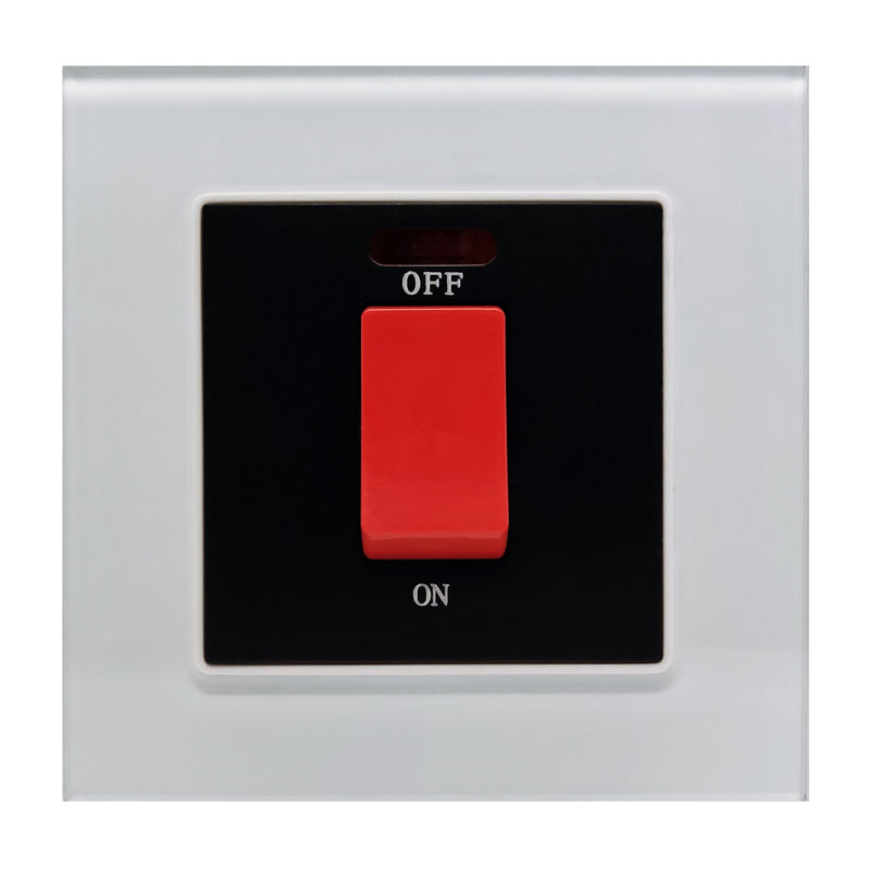 Single 45A Cooker AC Wall Power Switch in White Glass Frame & Black Centre