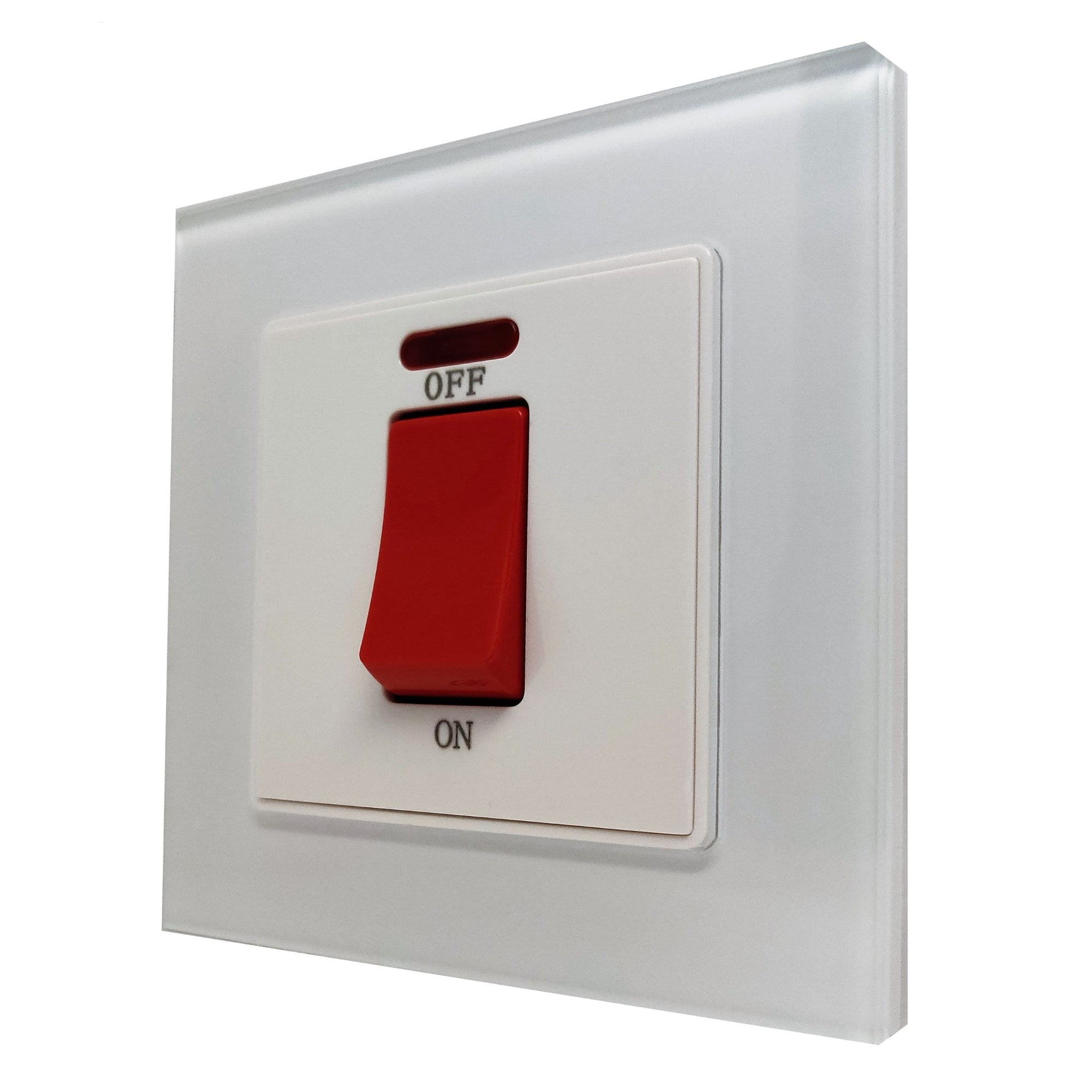 Single 45A Cooker AC Wall Power Switch in White Glass Frame & White Centre