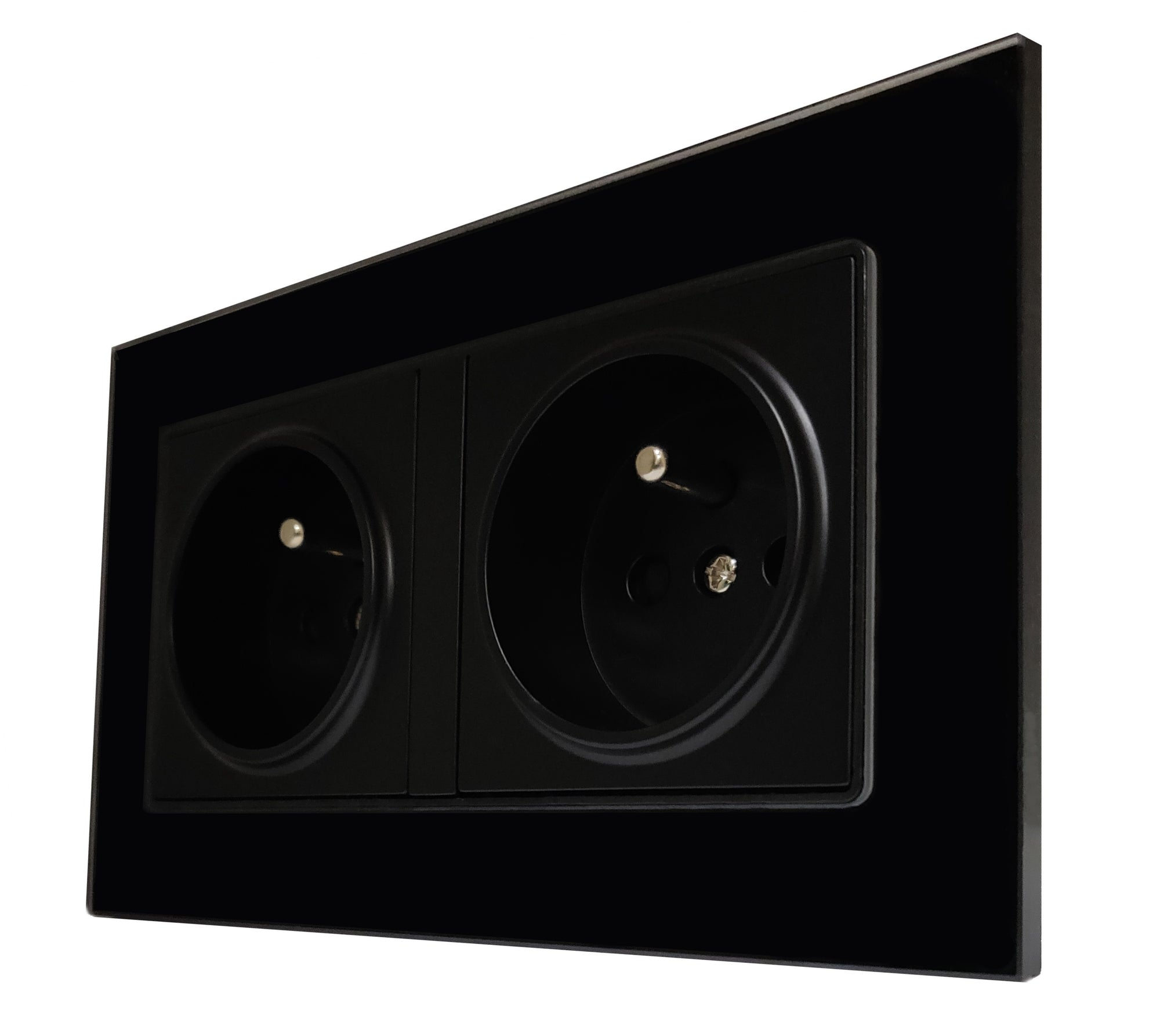 Double French EU 16A 2-Pin AC Wall Power Socket in Black Glass Frame & Black Centre