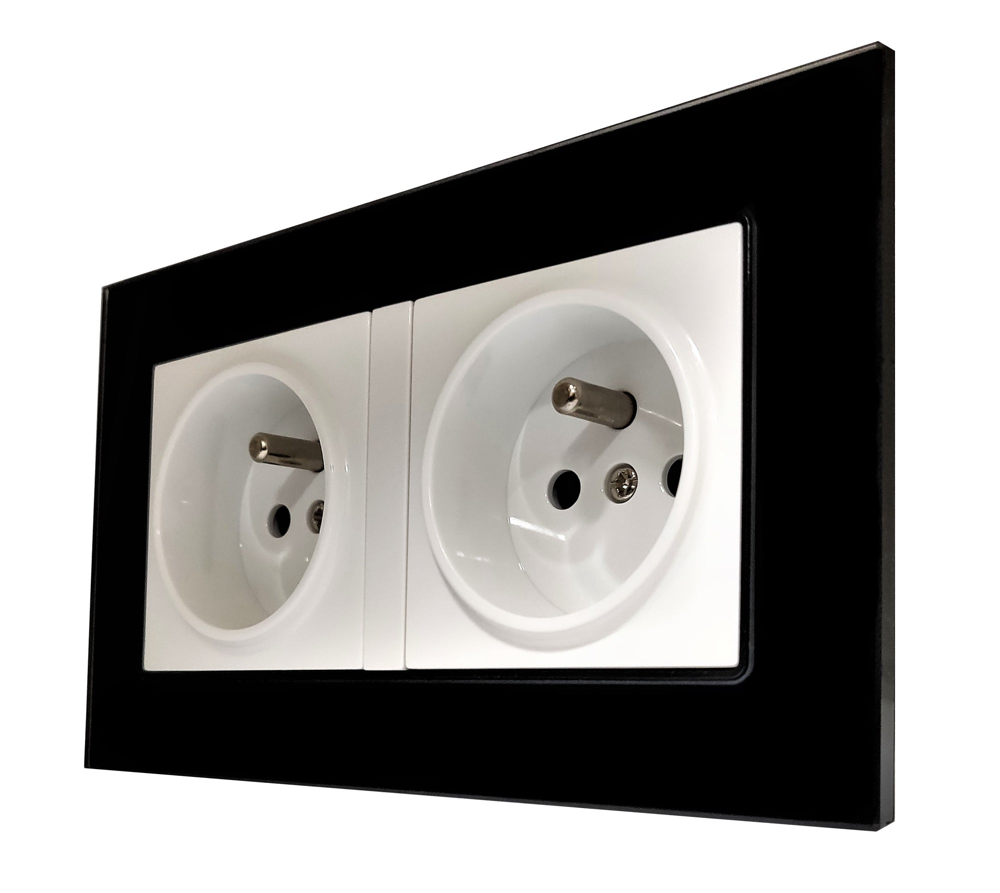 Double French EU 16A 2-Pin AC Wall Power Socket in Black Glass Frame & White Centre