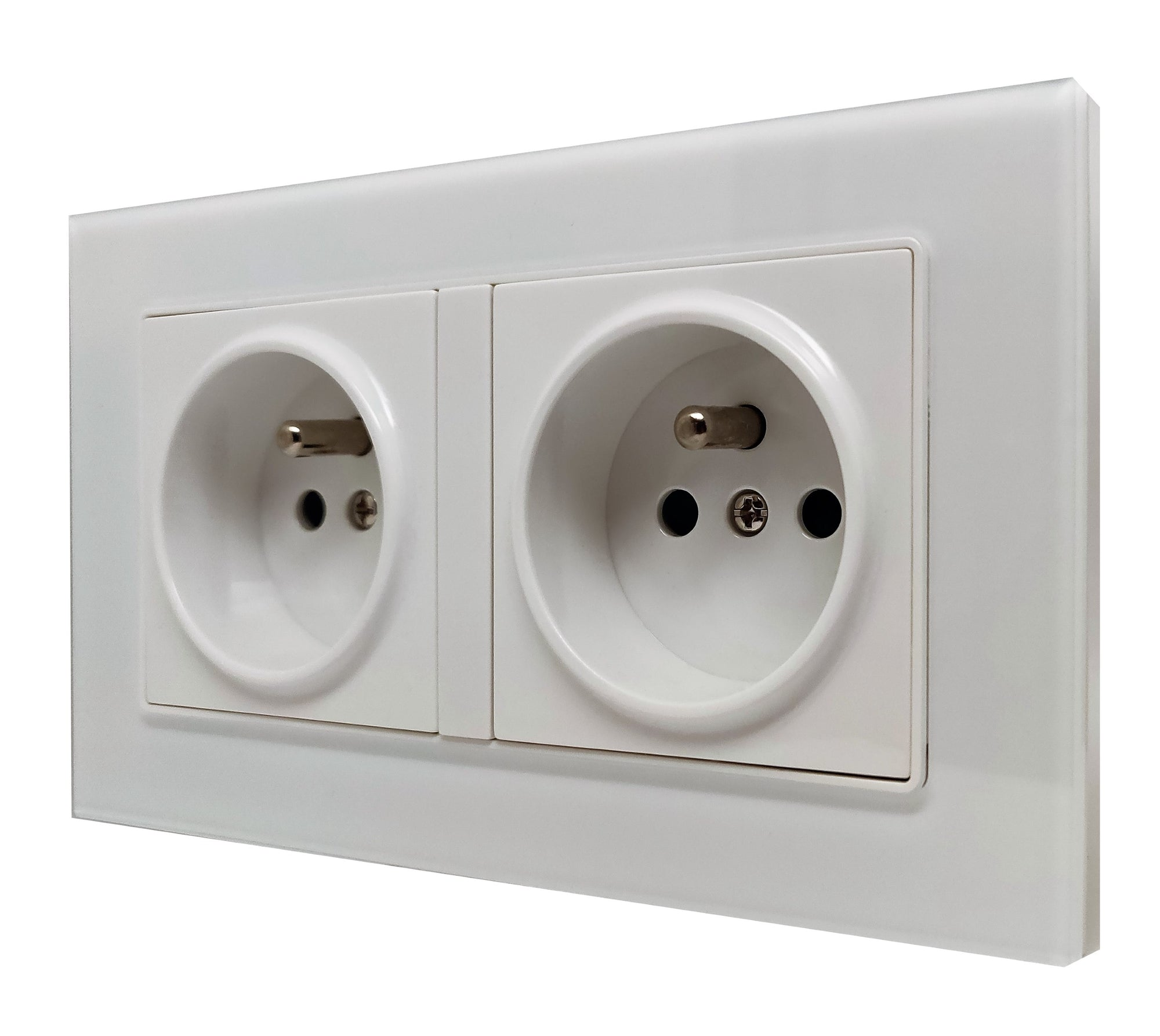 Double French EU 16A 2-Pin AC Wall Power Socket in White Glass Frame & White Centre