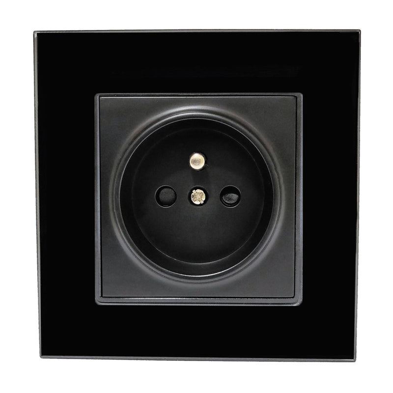 Single French EU 16A 2-Pin AC Wall Power Socket in Black Glass Frame & Black Centre
