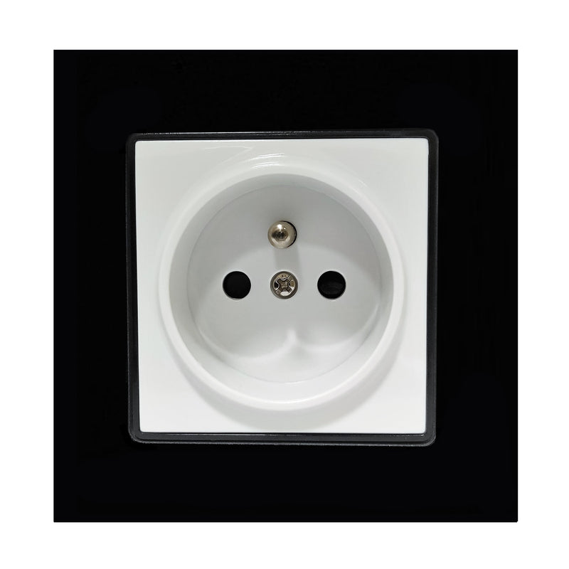 Single French EU 16A 2-Pin AC Wall Power Socket in Black Glass Frame & White Centre