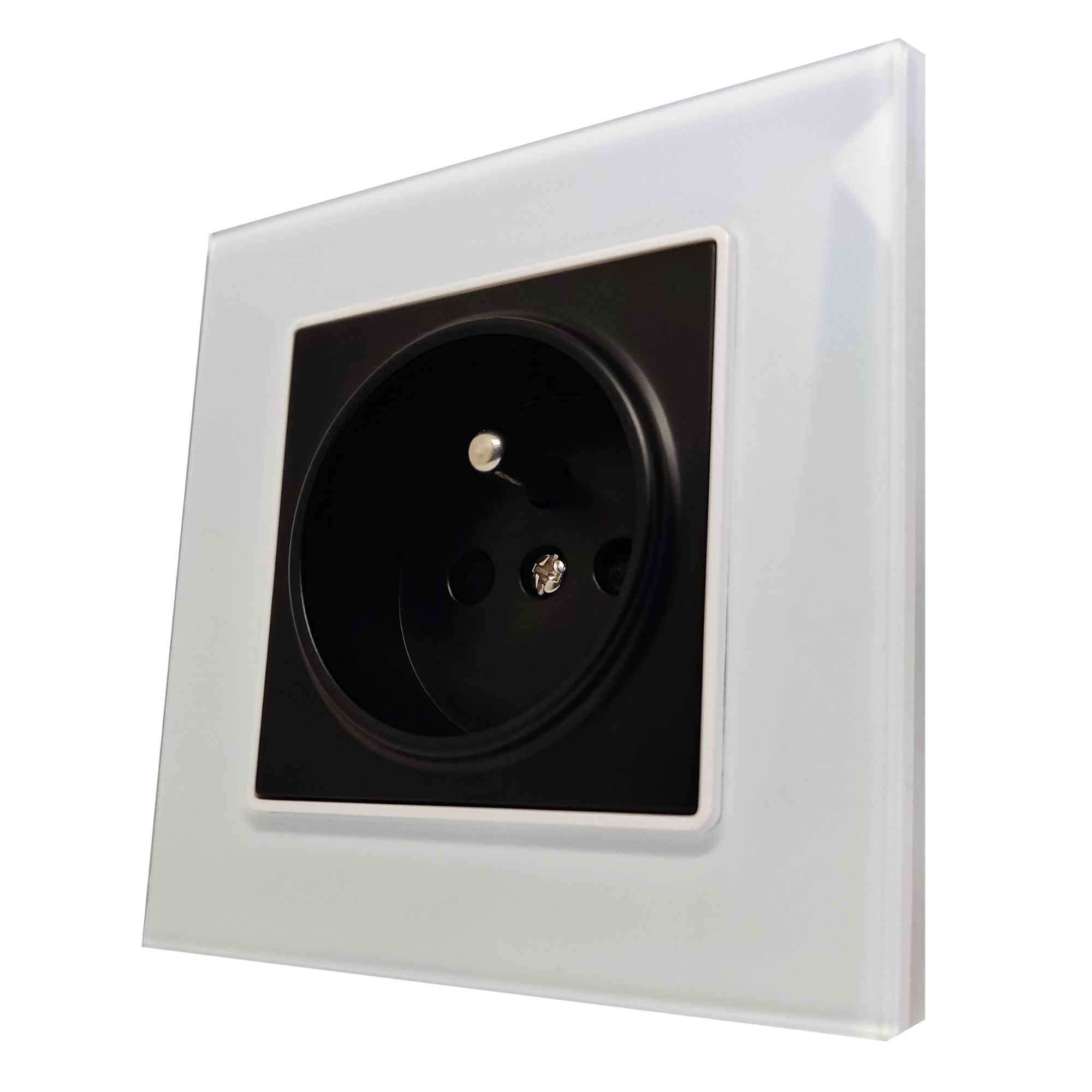 Single French EU 16A 2-Pin AC Wall Power Socket in White Glass Frame & Black Centre