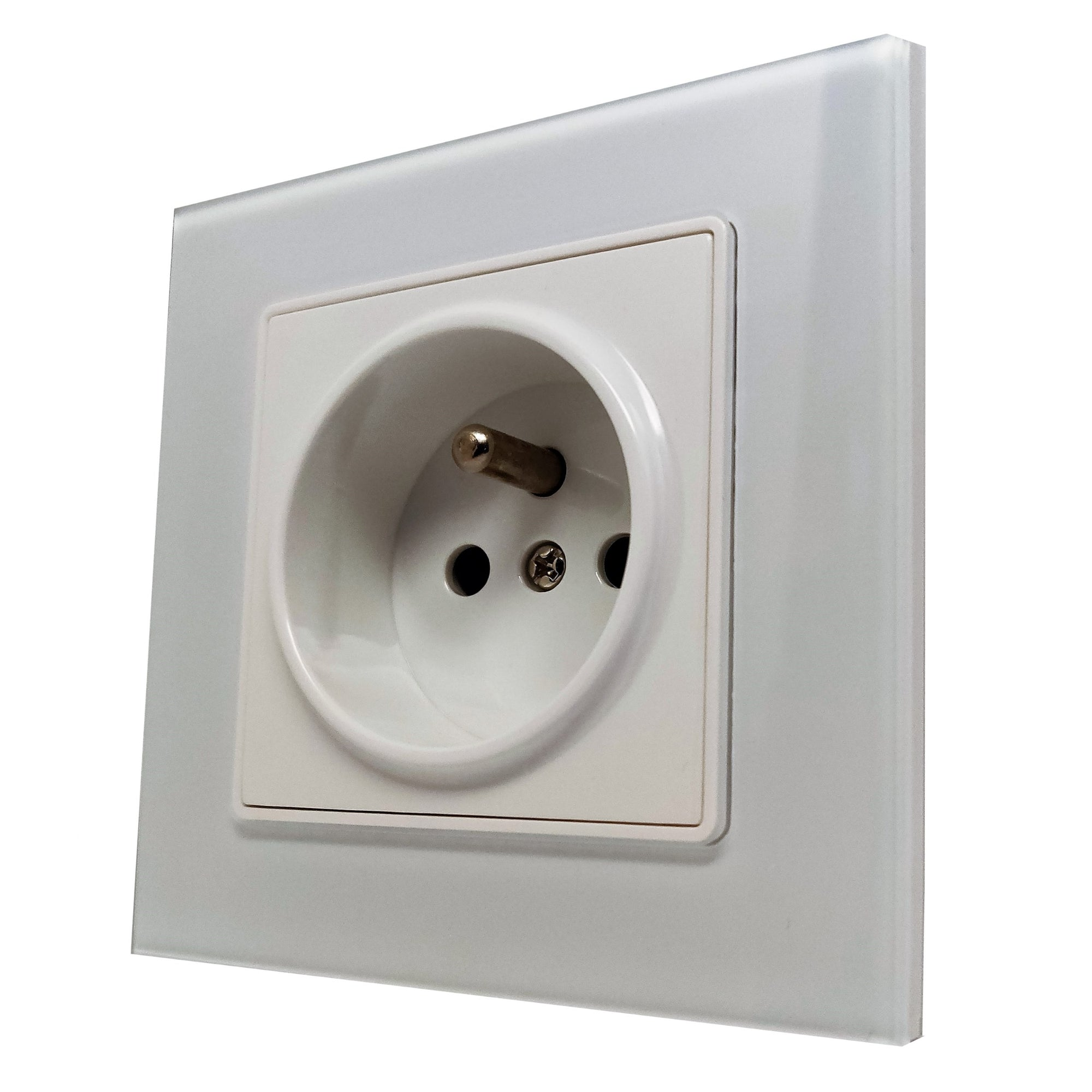 Single French EU 16A 2-Pin AC Wall Power Socket in White Glass Frame & White Centre