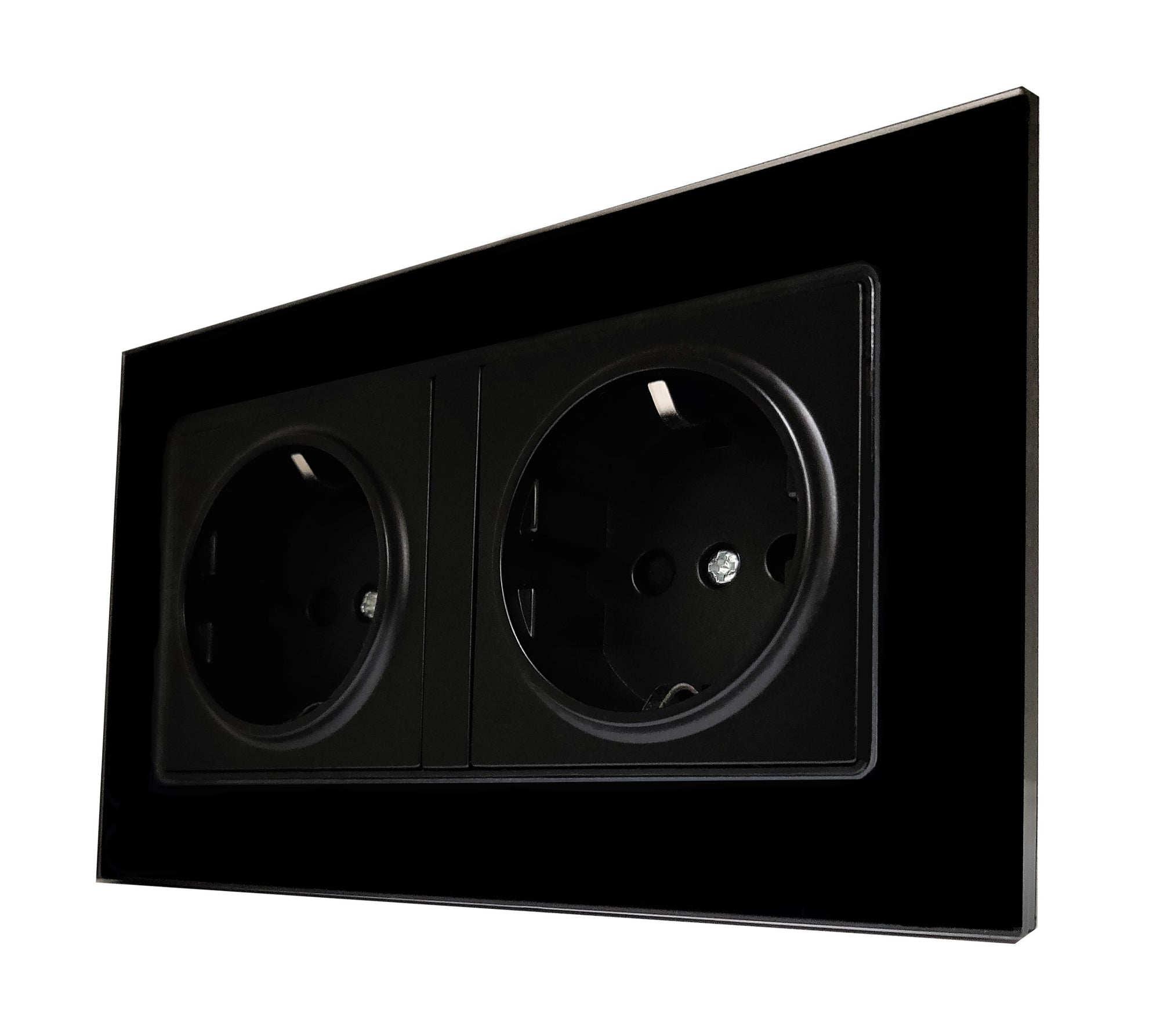 Double Schuko EU 16A 2-Pin AC Wall Power Socket in Black Glass Frame & Black Centre