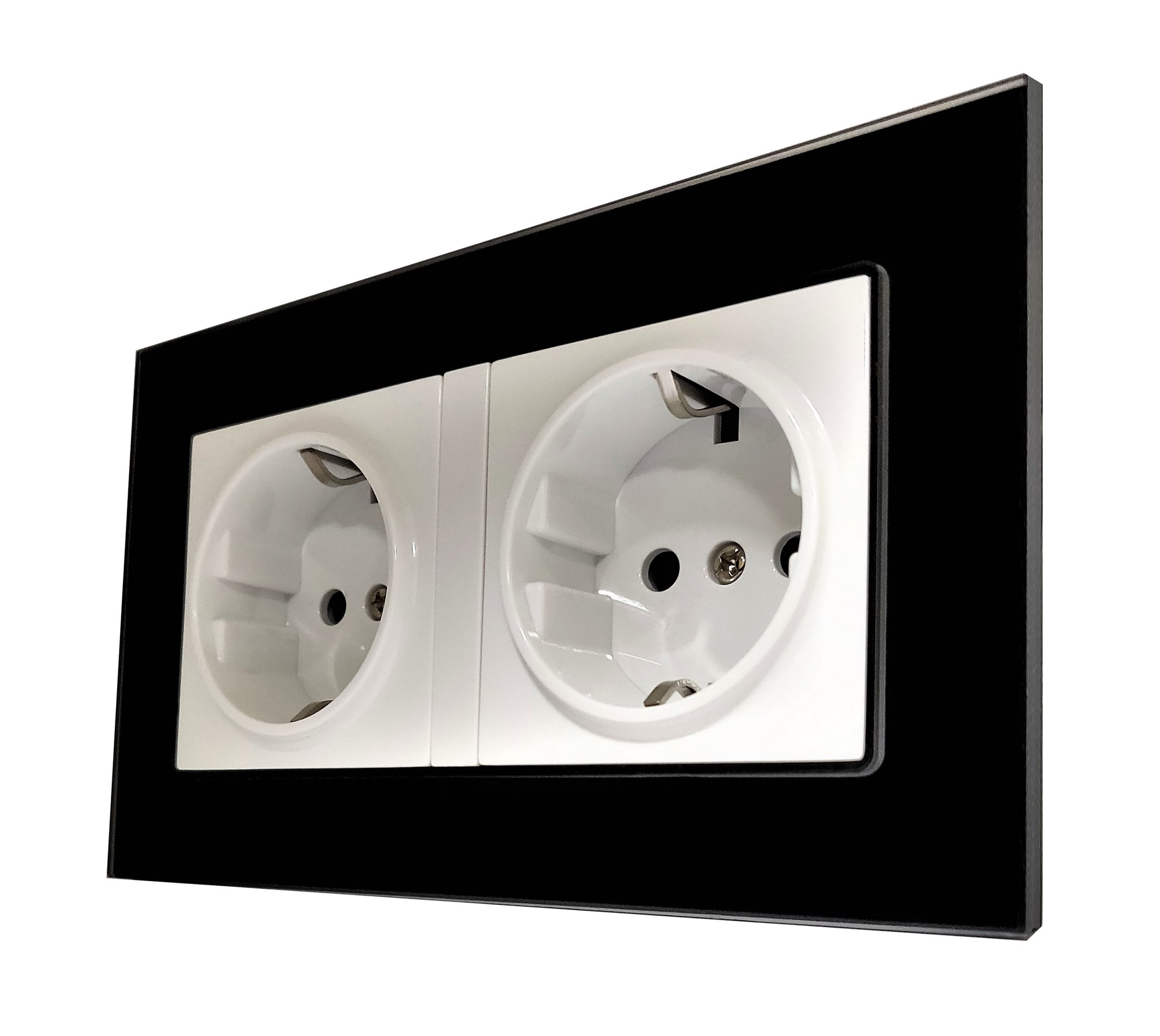 Double Schuko EU 16A 2-Pin AC Wall Power Socket in Black Glass Frame & White Centre