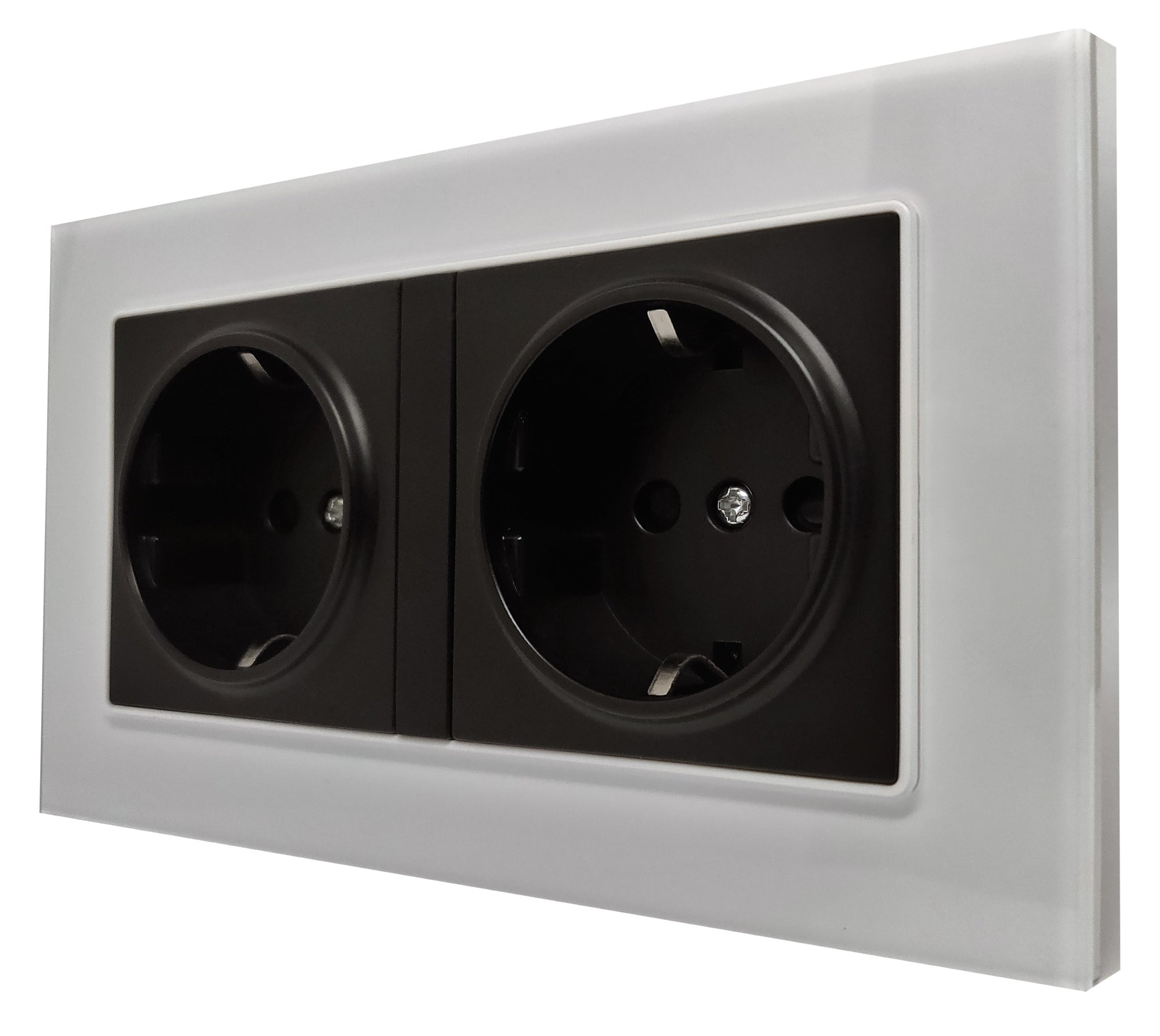 Double Schuko EU 16A 2-Pin AC Wall Power Socket in White Glass Frame & Black Centre